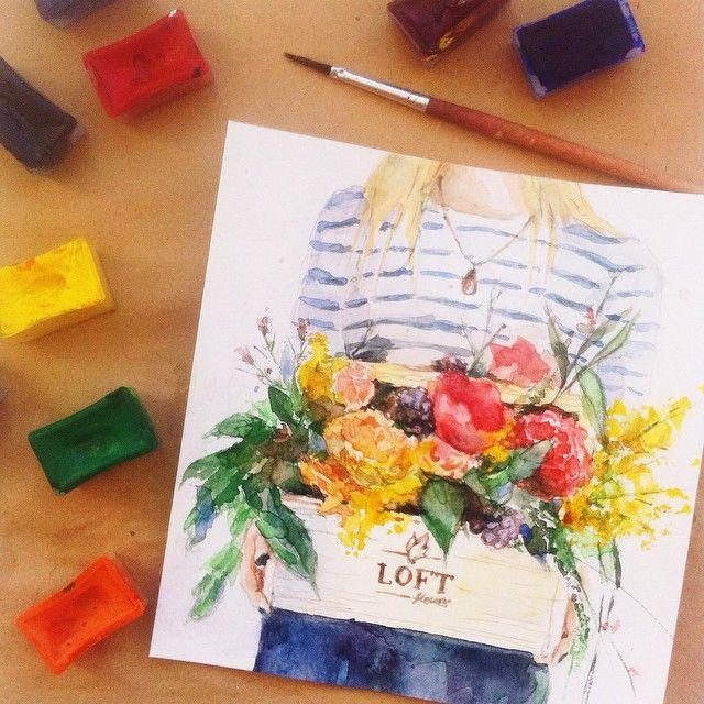 Когда раз в год берешься за акварель и вспоминаешь, какой же это кайф #watercolor #aquarelle #drawing #flowers #акварель #цветы