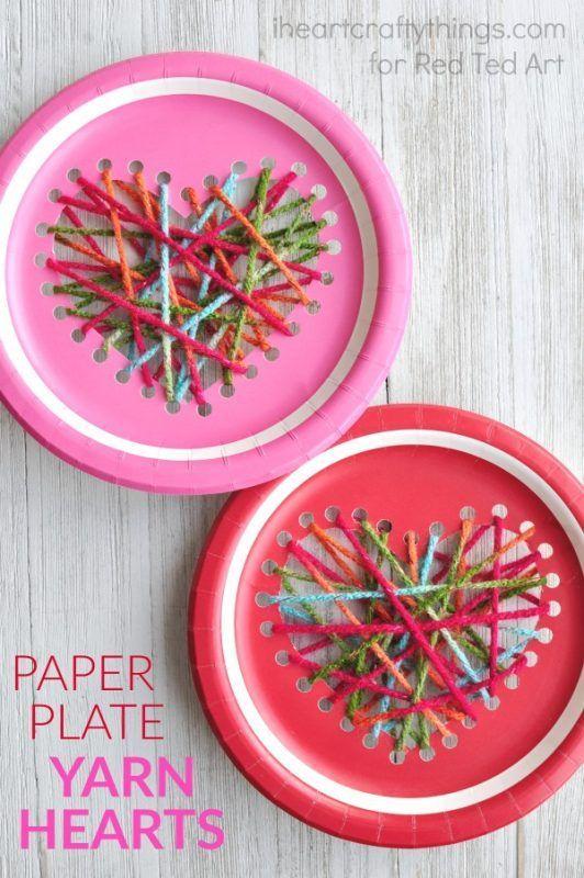 Paper Plate Heart Sewing Craft Valentines Day Crafts Valentine