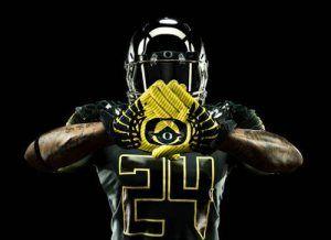Un anuncio promocional con uniforme de los Patos de Oregon para el Gran Tazón de 2012 Rose – remodelado por Nike. ¿Puedes reconocer el símbolo?