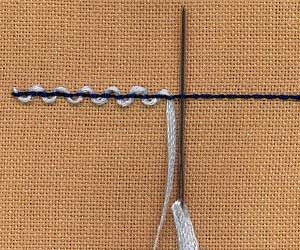 a step by step illustration of how to work threaded back stitch