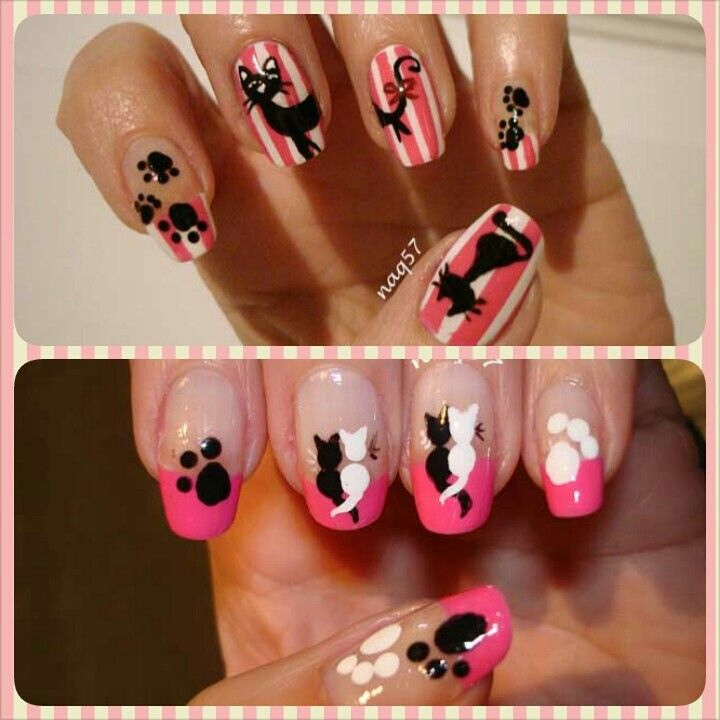 same color palette and theme, different designs, cat nail art http://instagram.com/naq57