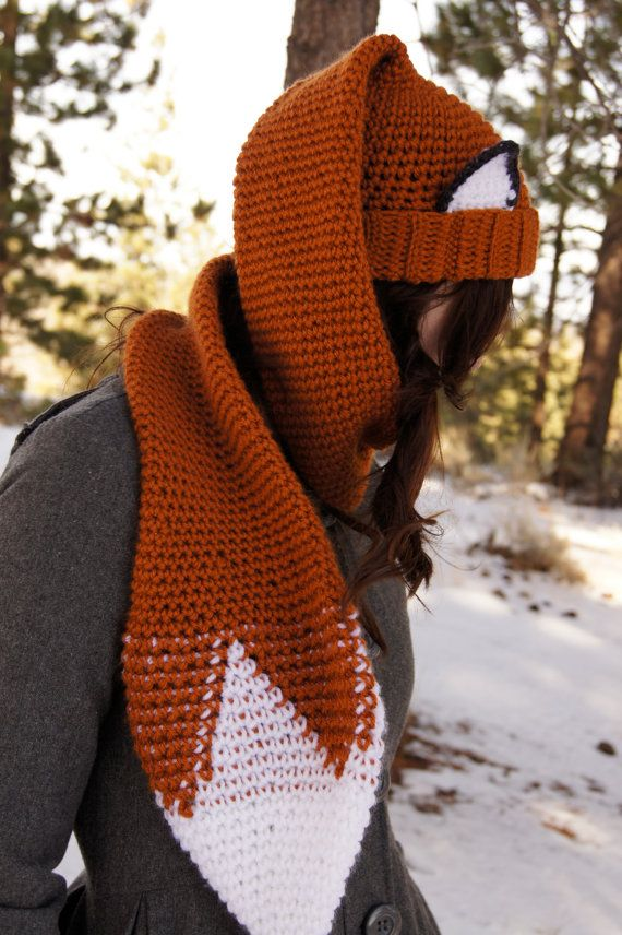Free Crochet Patterns Fox Scarf : Crocheted Fox Scarf - Hat (Scat) Pattern PDF