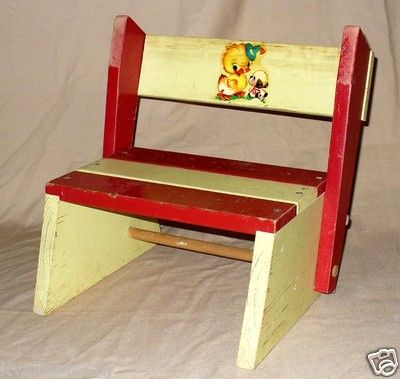 Vtg Child Wood Painted Folding Chair Step Stool Duck Puppy Decal Yellow Red & 155 best Very VTG Kitchen Stools images on Pinterest | Kitchen ... islam-shia.org