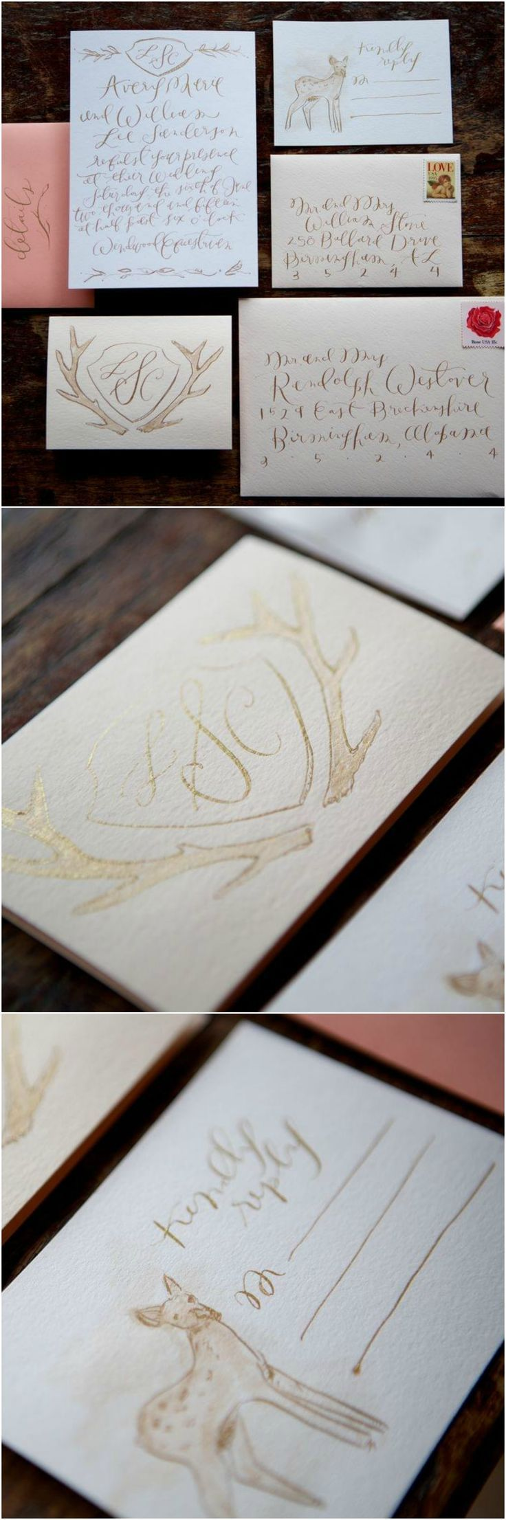 custom wedding invitations nashville%0A Pink  u     gold  wedding invitation suite  deer  antlers  cursive monogram