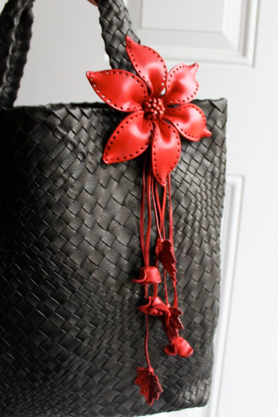 Tie me Knot Large Leather Flower Bag / Purse Charm by LeatherE, $23.00