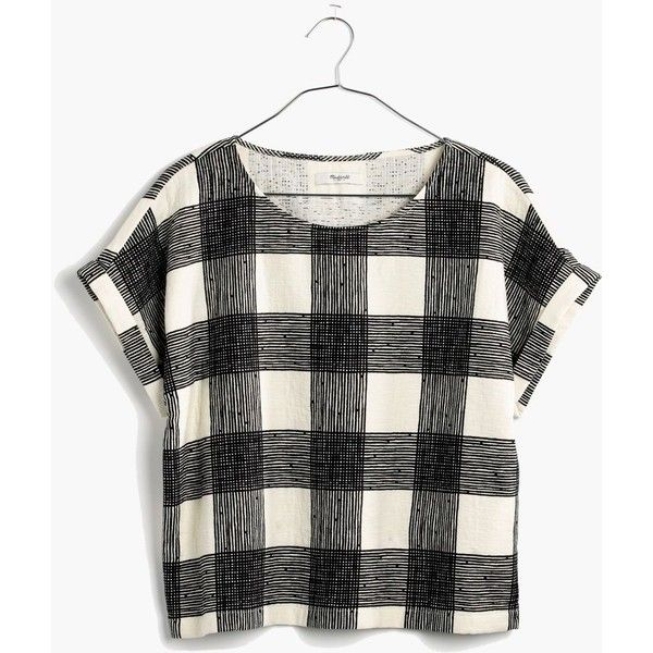 MADEWELL Inkcheck Top (250 PEN) ❤ liked on Polyvore featuring tops, vintage lace, black top, print top, print crop top, black crop top and madewell