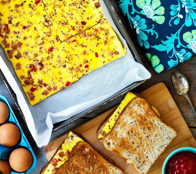 Baked Western Sandwich.  Baking the egg makes it easy to make a bunch of sandwiches at once.