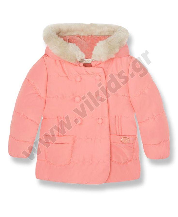 Βρεφικό παλτό-τζάκετ για κορίτσια 2-12 μηνών. Διαθέσιμο σε σομόν, υπόλευκο και μπλε με πουά
