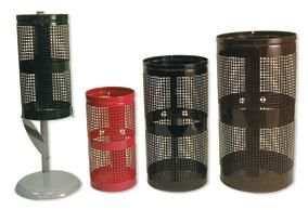 Outdoor Perforated Steel Park Trash Cans