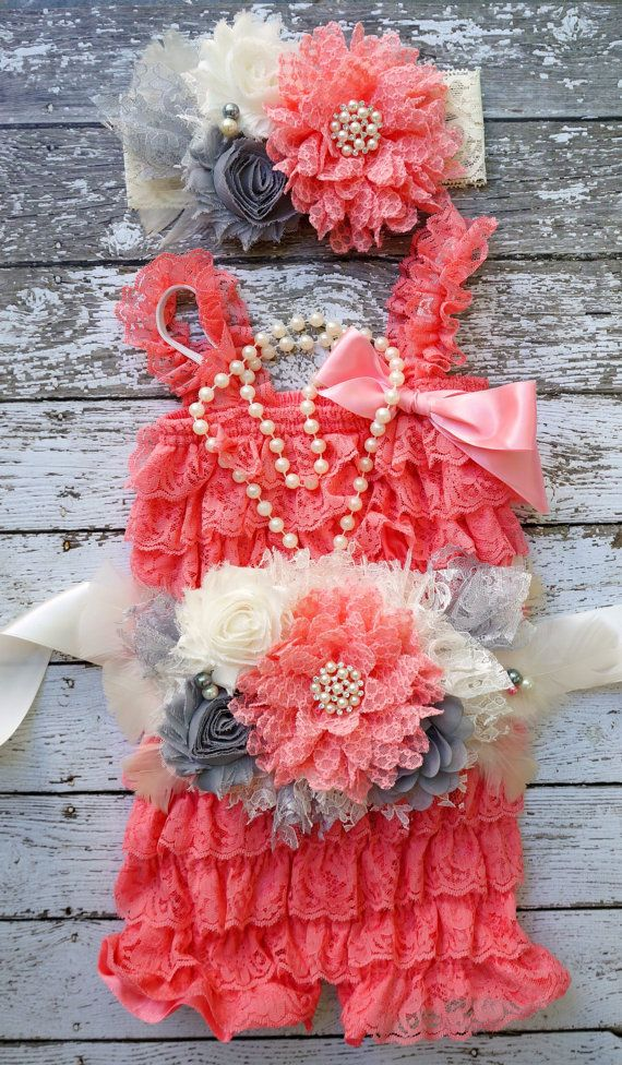 Coral Pink Lace Romper Set,Coral and Grey Outfit~Petti Romper Set,Newborn Romper~Toddler Outfit~Cake Smash~1st Birthday Outfit~Photo Prop on Etsy, $69.95