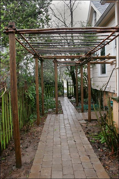 Portland Bamboo Company trellis, pergola, brick path