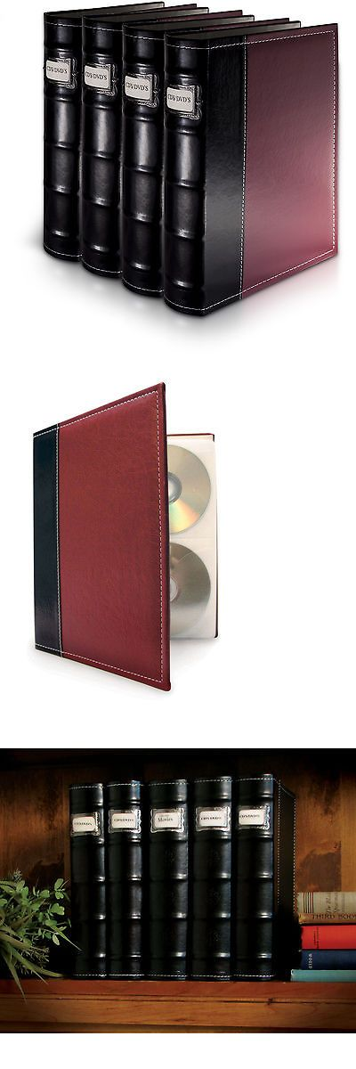 Media Cases and Storage: Bellagio-Italia Burgandy Leather Cd/Dvd Binder 4 Pack BUY IT NOW ONLY: $53.99