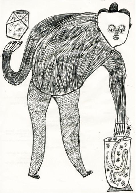 Ernst Kolb:«Der Griff in den Schlangenkorb und Balance mit Bernsteinwürfel», 1984 (Die Schlange ebenfalls mythologisch, archetypisch bedeutsam. Der Griff in den Korb ist riskant. Es könnte das Eintauchen ins Unbewusste symbolisieren. Die innere Balance ist gefährdet.) – Mieke Fabery de Jonge