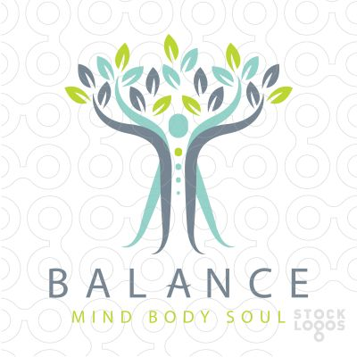 calm and relaxing logo design, representing the body's mind and spirit. The person arms are stretching upwards to also represent a growing tree.