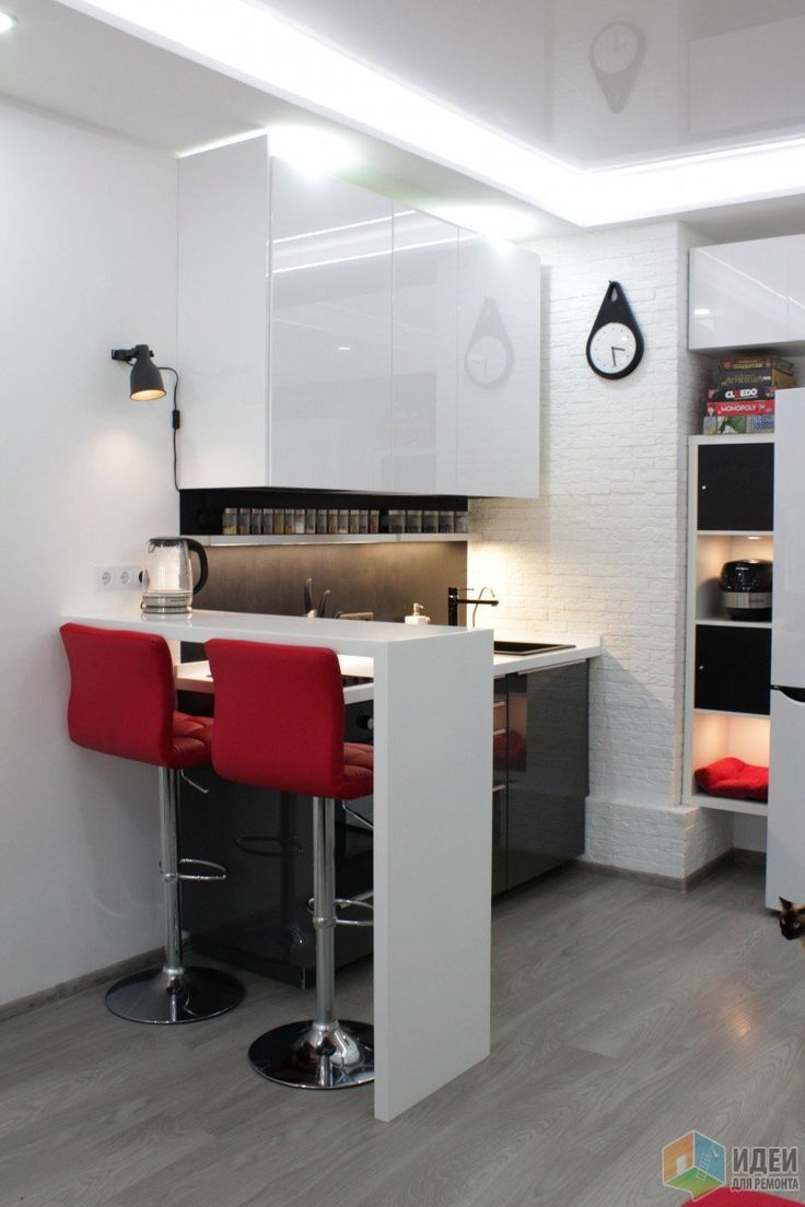 Мини-кухня в студии, зонирования квартира-студия