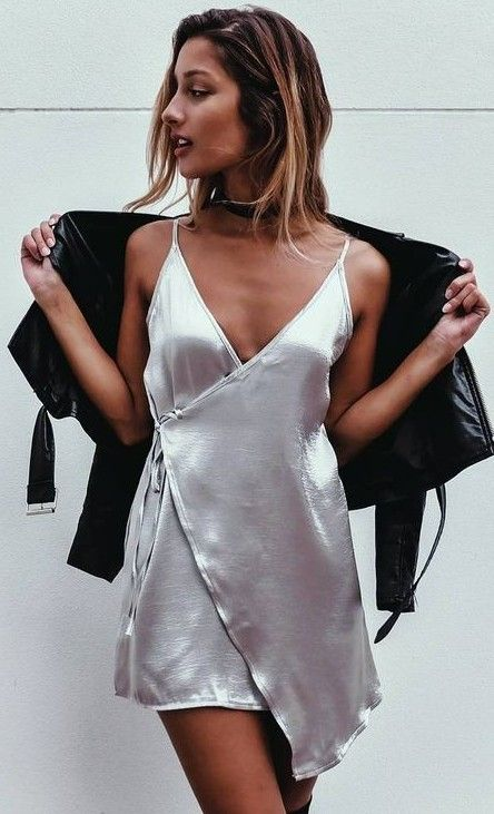 Silver Silk Wrap Slip Dress Source More