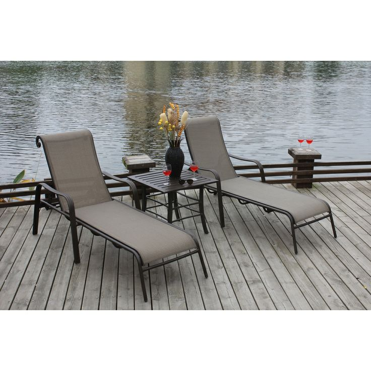 Canberra 3 Piece Chaise Patio Furniture Set | Overstock.com Shopping   Great  Deals