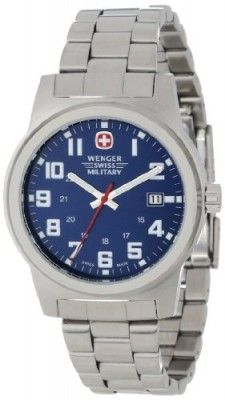 Relógio Wenger Swiss Military Men's 72908 Classic Field Blue Dial Steel Bracelet Military Watch #Relógio #Wenger