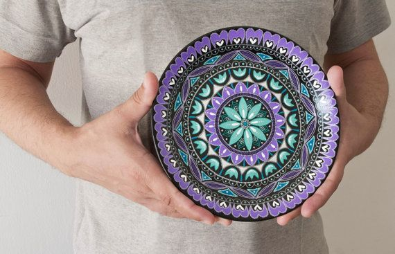 Violet mint plate Fresh Mint / Hanging plate for wall by LekaArt, $57.00