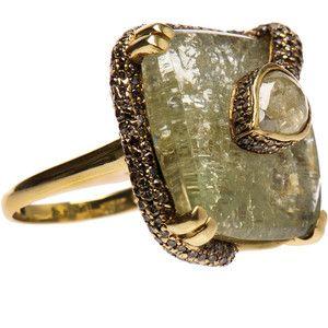 Kimberly McDonald 18K Gold Snake Ring with Green Beryl, Yellow and Brown Diamonds.