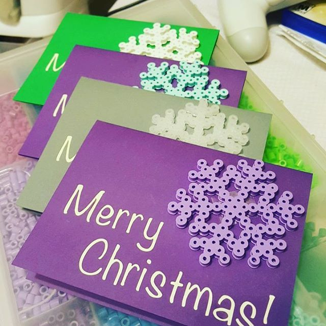 Christmas cards perler beads by laydeetea