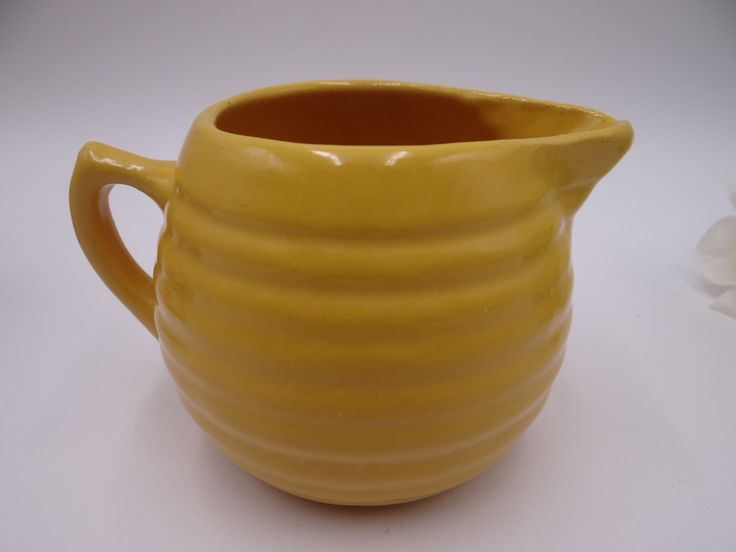 1930s Bauer Pottery Ring Ware 12oz Canary Yellow Creamer