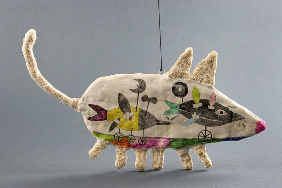 Ildiko/Double Fox Studio - Ramon the Mouse - 3 D Art Object Wall Decoration, coloured pencil on clay