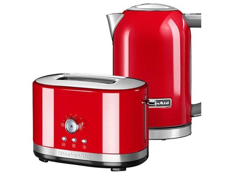 Kitchenaid empire red 2 slot manual toaster and 17l