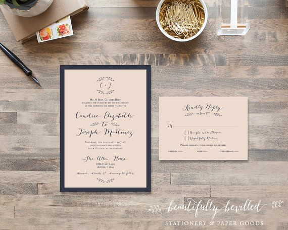 Blush Pink and Navy Blue Wedding by BeautifullyBevilled on Etsy