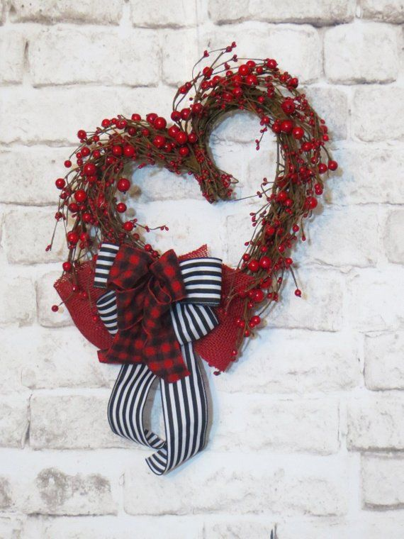 Valentine Wreath Red Berry Heart Valentine Heart Wreath Grapevine Heart Valentine Decor Winter Wreath Valentine Wreath Valentine Decorations Valentine Day Wreaths