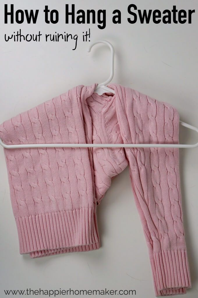 We've all been told not to hang up sweaters for fear of stretching them out-here is an easy way to hang a sweater on a hanger without damage!