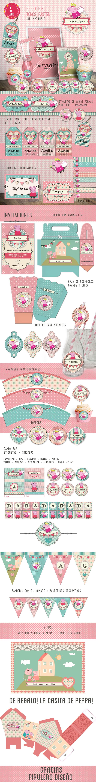 Kit imprimible Peppa Pig Pastel, Rosa y Aguamarina #kitimprimible #peppapig
