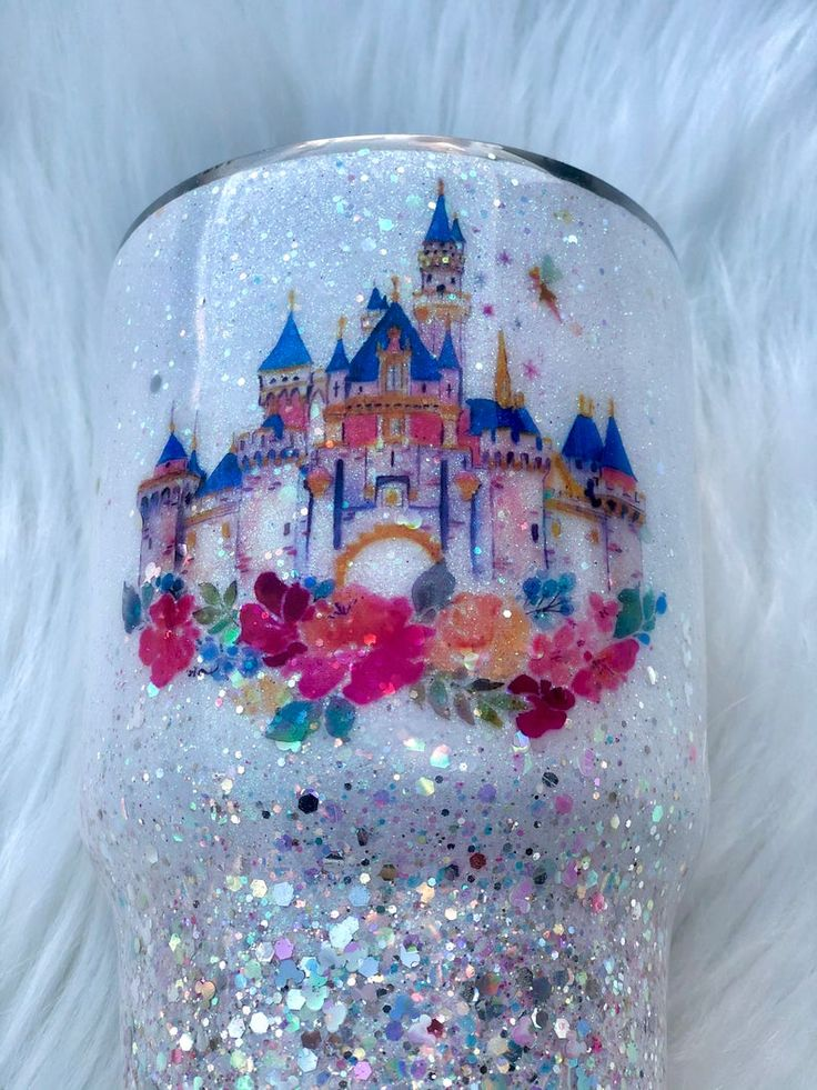 Beautiful Opal/Pink Watercolor Disney Castle Magical