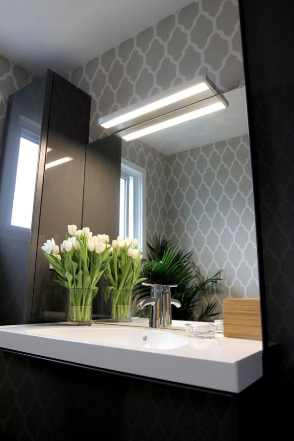 IKEA Bathroom Makeover: LED Wall Light   Love the wallpaper - would do an accent wall with this!