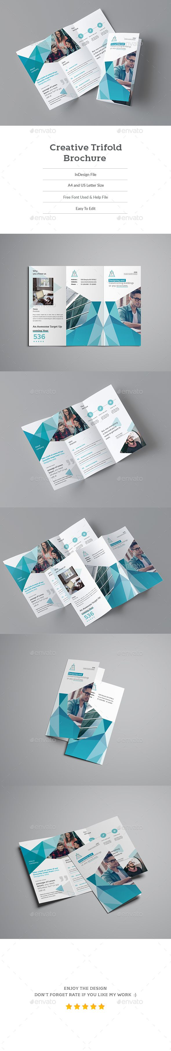 Clean and modern brochure for your business marketing and promotion your offer . you can easily change its text, color & shapes as per your requirements. A4 & US Letter Size Template InDesign File INDD, INDT & IDML Files Included. High-quality clean & creative designs Organized Layered Print Ready with CMYK Very easy to edit & customise 	abstract, brochure, business, corporate, creative, fold, fresh, indesign, information, multipurpose, people, product, promotion, template, tri