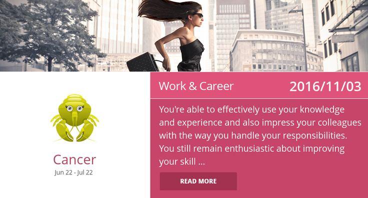 Cancer work & career horoscope for 2016/11/03. PIN/LIKE if accurate. #cancer, #horoscope, #horoscopes, #astrology