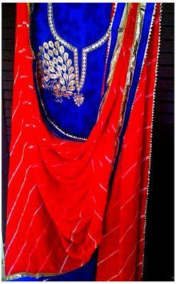 Rajasthani Gota Patti work Suits: Tradition Rajasthani Gota Patti Work suits (Unstit...