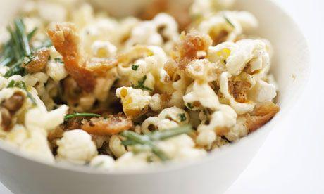 Nigel Slater's chicken-skin popcorn with rosemary  http://www.guardian.co.uk/lifeandstyle/2013/apr/14/nigel-slaters-herb-salt-recipes