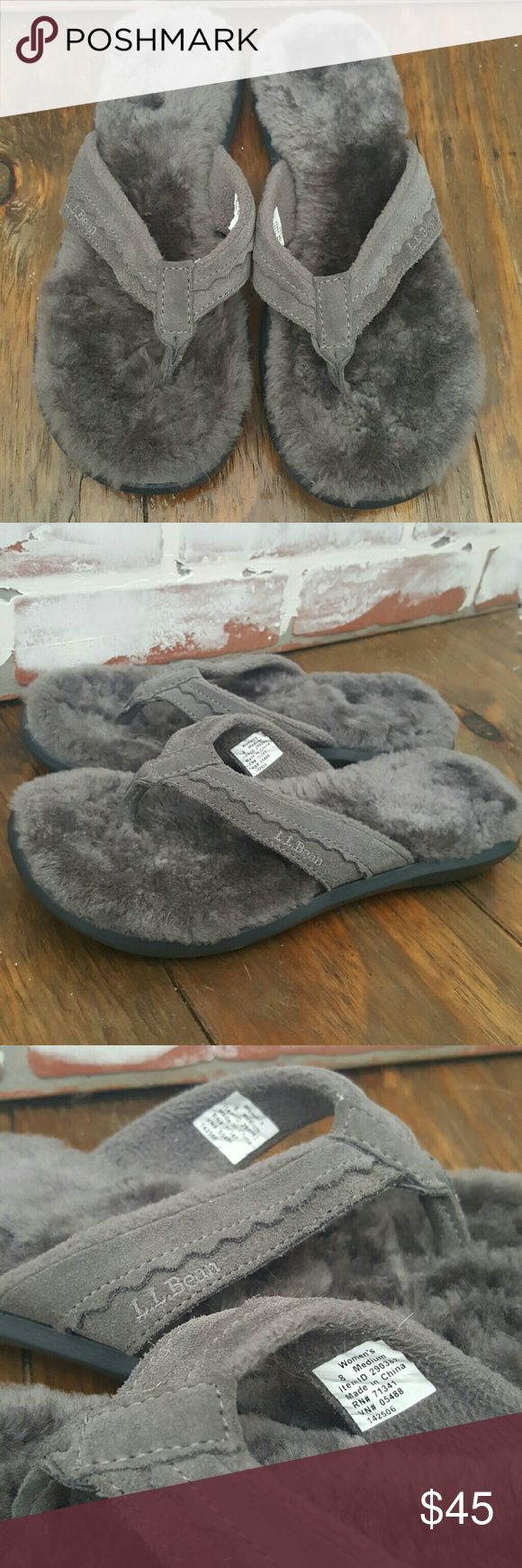 L.L.Bean Shearling Slippers Flip Flops NWOT Genuine shearling lined flip flops from L.L.BEAN. Like new, only tried on in house. Beautiful silvery gray shearling keeps your feet cushioned and cozy around the house or running errands. Heavy duty rubber sole. Trusted brand L.L.BEAN Size 8 womens. In my experience, LL Bean sizes run a little large so these would be comfortable for a true 8 to a 8.5. I'm 7.5-8 and they feel just a tad too large for me is why I'm selling. L.L.BEAN  Shoes Slippers