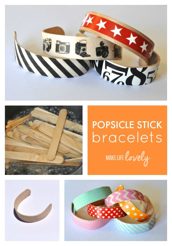 Easy Popsicle Stick Bracelets. Did you know you can make cute bracelets out of popsicle sticks? Cilck for the easy tutorial!