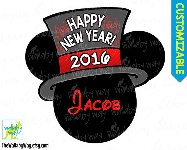 New Year's Eve 2016 Mickey Printable Iron On Transfer or Use as Clip Art, DIY Disney Shirt Happy New Year Mickey Head Download Personalize by TheWallabyWay on Etsy