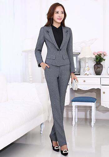 c6997078b72 Professional female long-sleeve suit pants fashion slim business ladies  office wear trouser suits plus size blazer set Material  Polyester Sleeve  ...