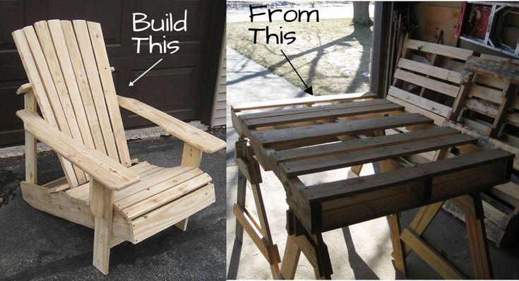 A pallet Adirondack chair that doesn't look like it was built from pallets.  Adirondack chair plan built from 4 pallets
