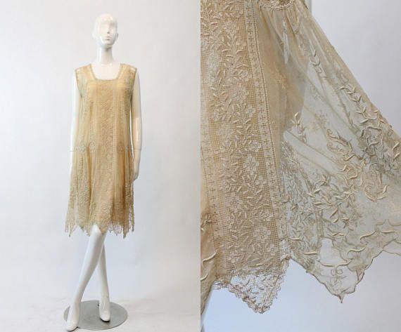 20s Edwardian Dress Cotton Lace XS Small  / 1920s Vintage
