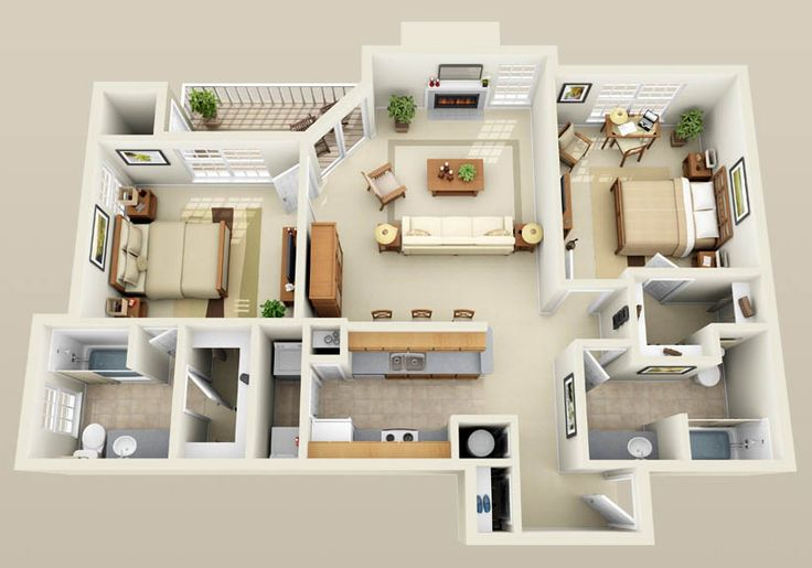 Three bedroom flat layout google search houses for Three bedroom apartment layout