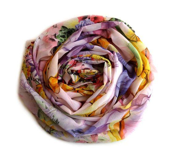 Flowers Scarf, Silk Scarf, Chiffon Scarf, Pattern Scarf, Spring Scarf, Lavender Scarf, Women Gift, Floral Scarf, Head Scarf, Blanket Scarf,
