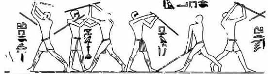 Depiction of Egyptian stick fighting.