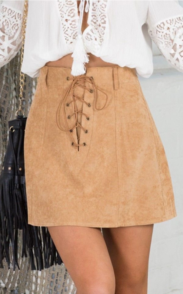 Lover Not A Fighter skirt in beige | SHOWPO Fashion Online Shopping $49