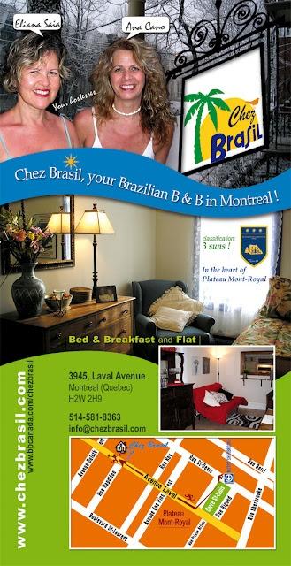 Publicity card for Chez Brasil B&B.