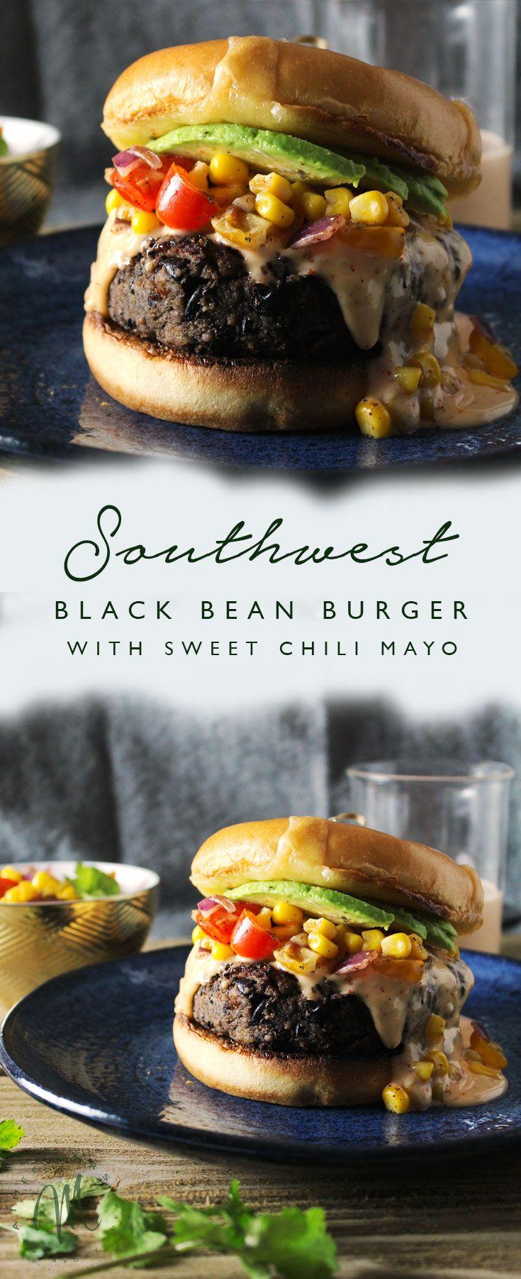 The Southwest Black Bean Burger with Sweet Chili Mayo